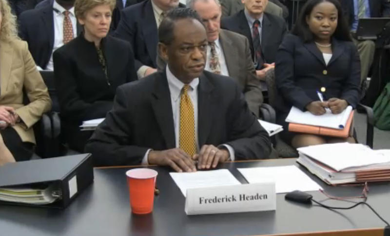 Frederick Headen, director of the Michigan Department of Treasury's Local Government Services Bureau speaks during the EM appeal hearing.