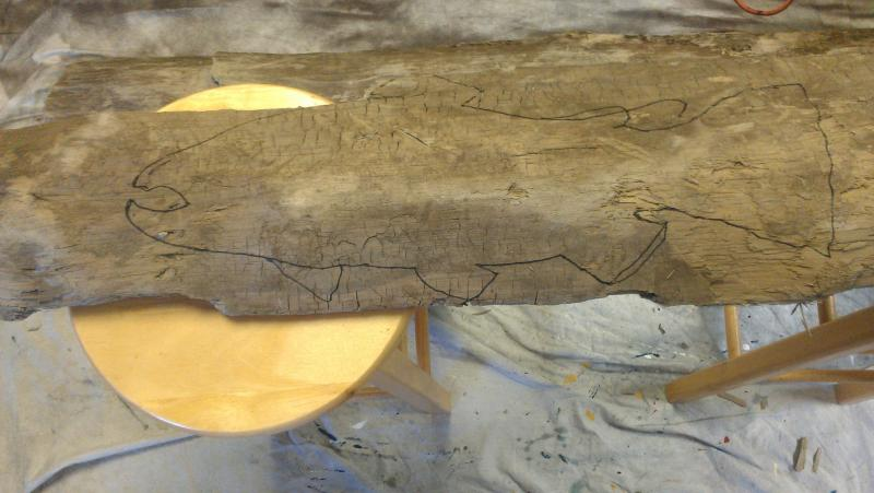 Victoria drew a golden trout on this piece of slabwood.