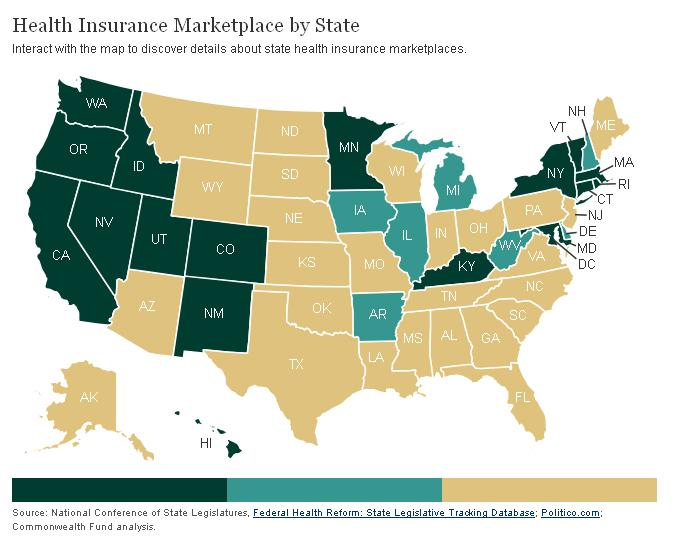 Dark green = state exchange/Turquoise = state-federal exchange/Tan = federal exchange. Now that Senate Republicans killed the plan, color Michigan tan in this map.