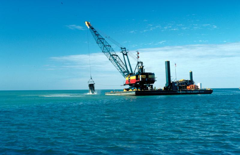 A dredge working on Lake Michigan.