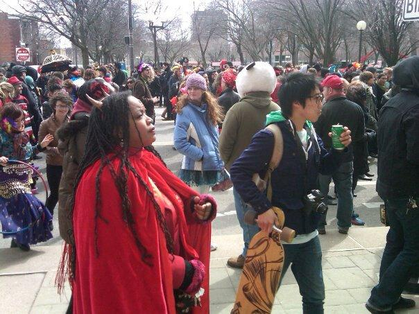 A shot of the crowd at the Marche du Nain Rouge.