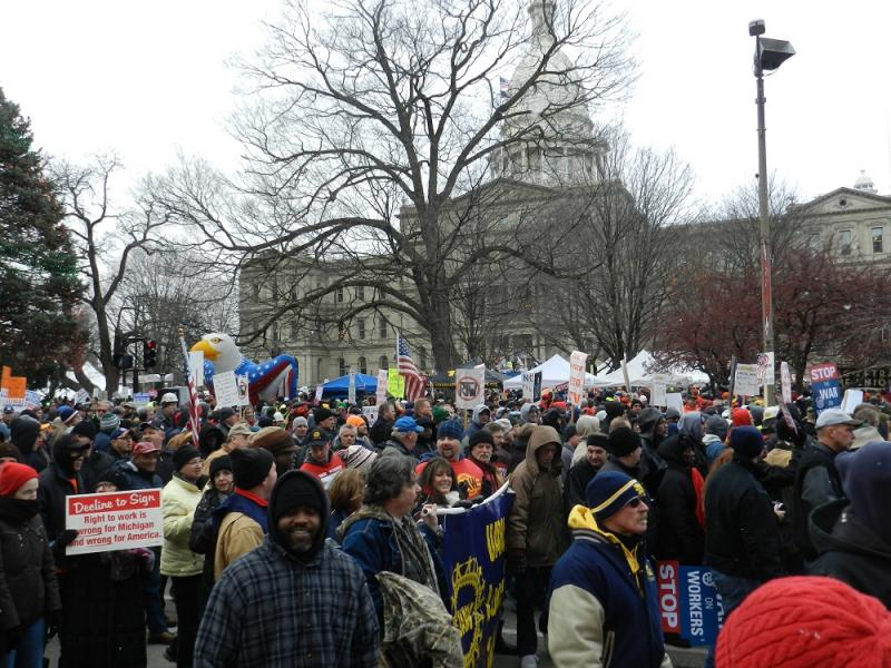 Thousands of union members protested last December as the Michigan Legislature passed Right to Work legislation (file photo)