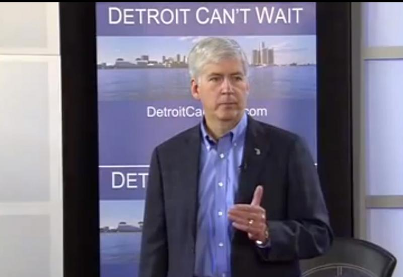 Earlier this month in front of a backdrop reading 'Detroit Can't Wait,' Michigan Gov. Snyder declared the city is in a 'financial emergency.'