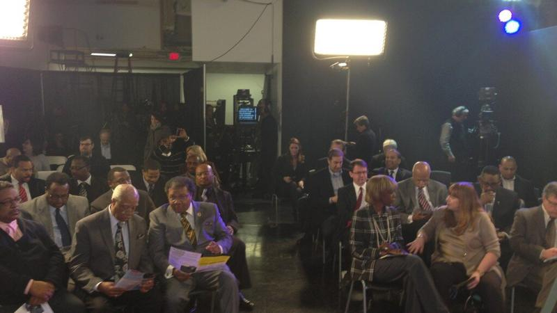 The scene at the Detroit Public Television studios where Gov. Snyder is making his announcment.