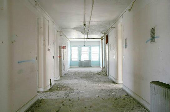 A photo of the old hallway in the Traverse City State Hospital.