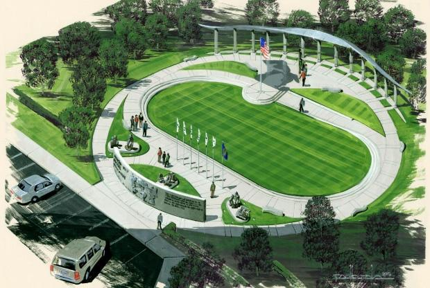 An artists rendering of the WWII memorial.
