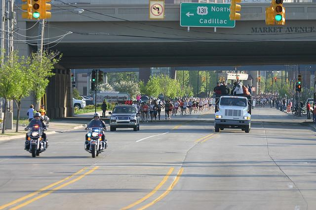 Police will be even more visible during this year's river bank run than in the past. (photo of 2008 race)