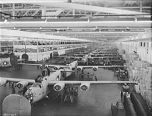 B-24 bombers being assembled at the Willow Run plant. Ford Motor Company built 8,685 B-24s from 1942 until the end of World War II.