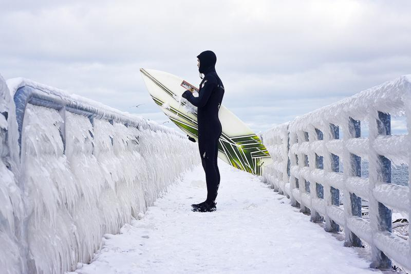 Great Lakes surfers brave all kinds of bad weather.