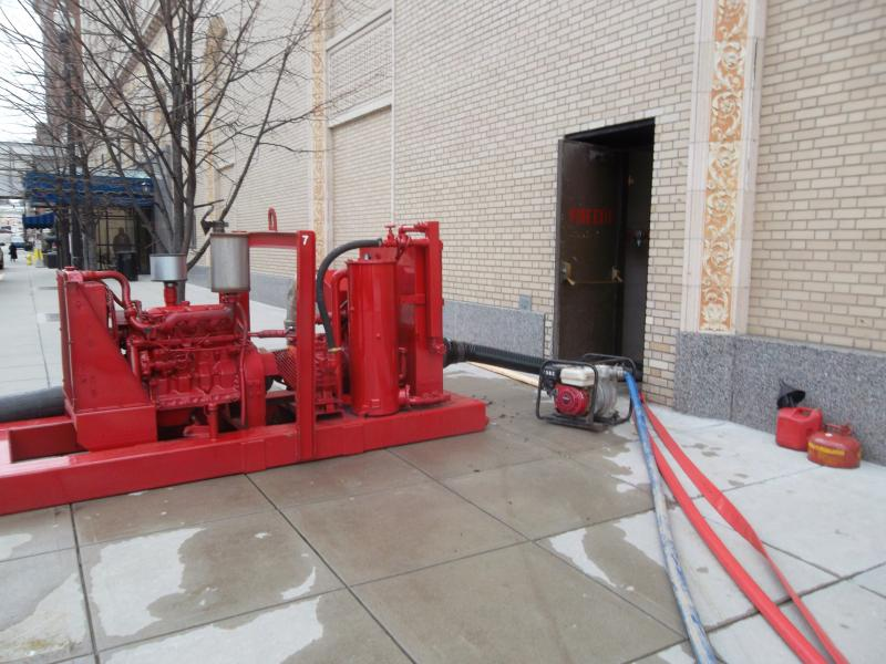 Large pumps outside the Amway Grand Plaza on Friday afternoon.