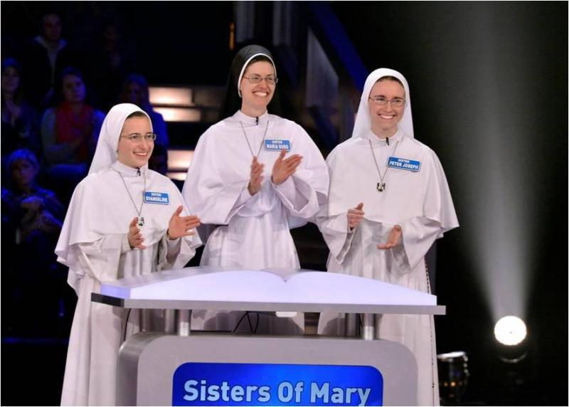 Sisters Evangeline, Maria Suso, and Peter Joseph appearing on GSN's 'American Bible Challenge.'
