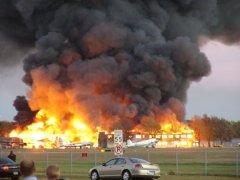 The former Yankee Air Museum's headquarters at Willow Run Airport burned in 2004. Three historic aircraft were saved, but many artifacts, tools, and other museum pieces were lost.