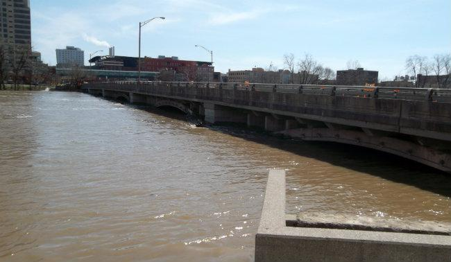 On Sunday the Fulton Street bridge was closed. The water is high enough there's concern big trees floating down the river could snag high voltage electrical lines just under the bridge.
