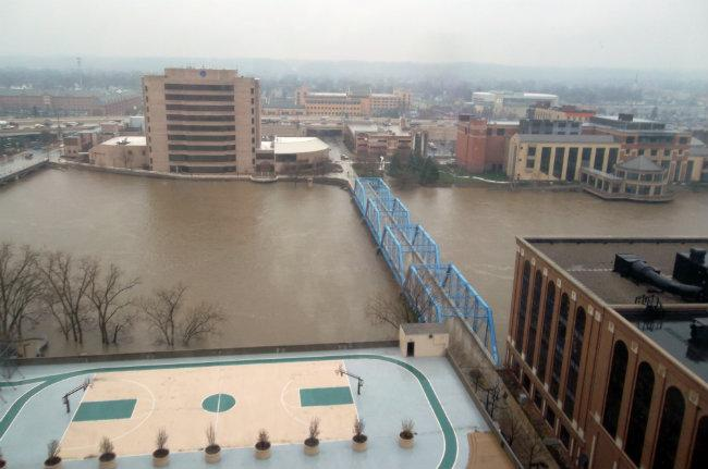The view of the Grand River from Drew Woodrow's condo on the 16th floor of Plaza Towers.