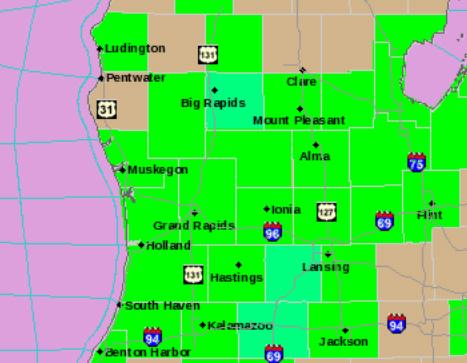 Flooding (in green) throughout West and mid-Michigan.