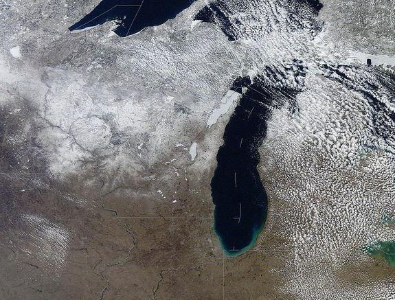 Lake Michigan and parts of Lakes Superior and Huron from space.