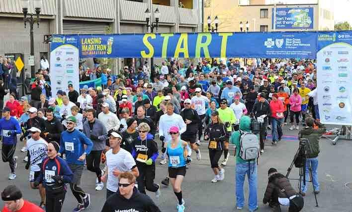 Runners cross the line in last year's Lansing Marathon