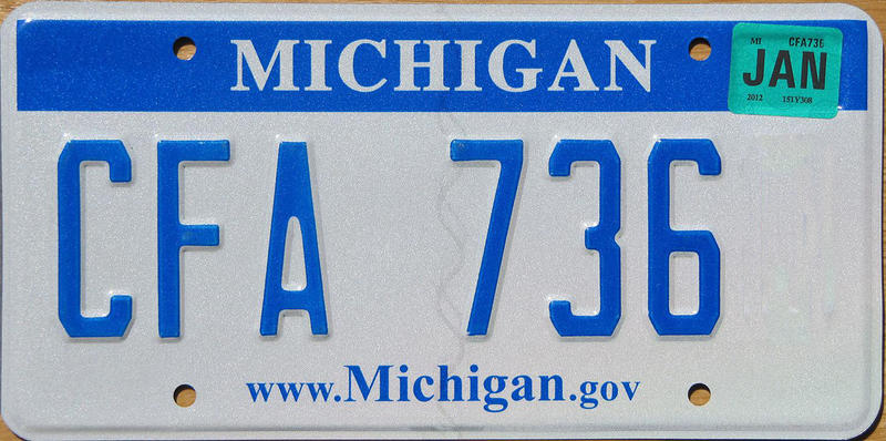 A sample of a current Michigan plate.