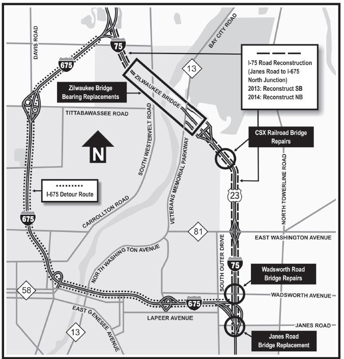 Construction projects and detour routes for the I-75 Zilwaukee Bridge.