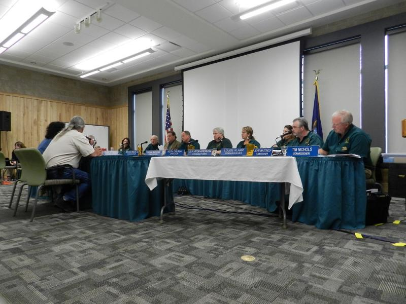 Members of the Natural Resources Commission listen to opponents of the wolf hunt during Thursday's meeting in Roscommon