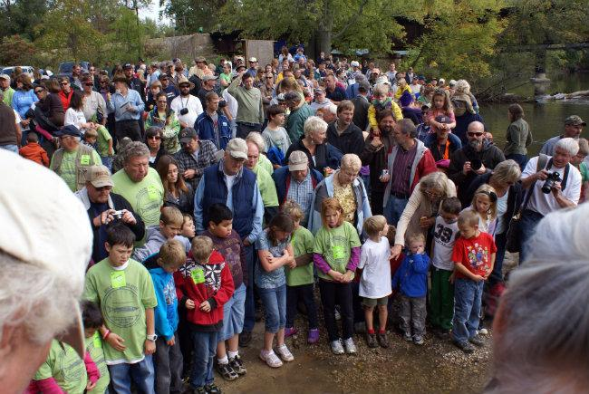 Hundreds gathered in 2011 for the release of nearly 150 sturgeon raised at the facility.