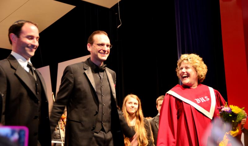 From left, cantor Daniel Gross, director John Robertson, and choral director Julie Anne Smith.