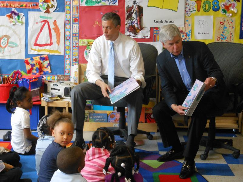 U.S. Education Secretary Arne Duncan and Governor Rick Snyder read to preschoolers at Thirkell Elementary School in Detroit Monday.