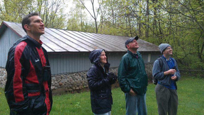 Rob Peters, Jill Goodell, Jeff McKelvey and Ben Giffon study a mixed flock of warblers.