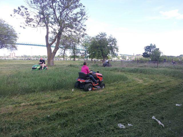 The Detroit Mower Gang takes on Riverside Park.
