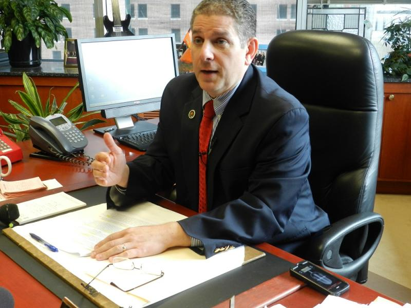 "Lansing Mayor Virg Bernero calls the city council's cuts to his budget ""short-sighted, one-time cuts … to avoid assessing residents a modest amount for hydrants"""