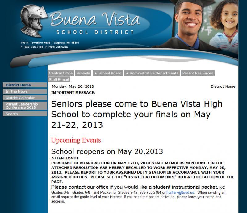 Buena Vista's website announcing school opens today.