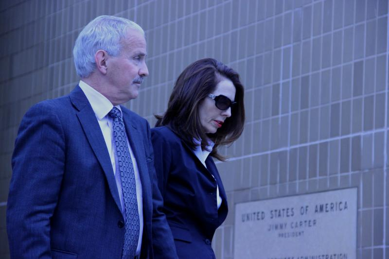 Former Supreme Court Justice Diane Hathaway leaving the federal courthouse in Ann Arbor with her attorney Steve Fishman.