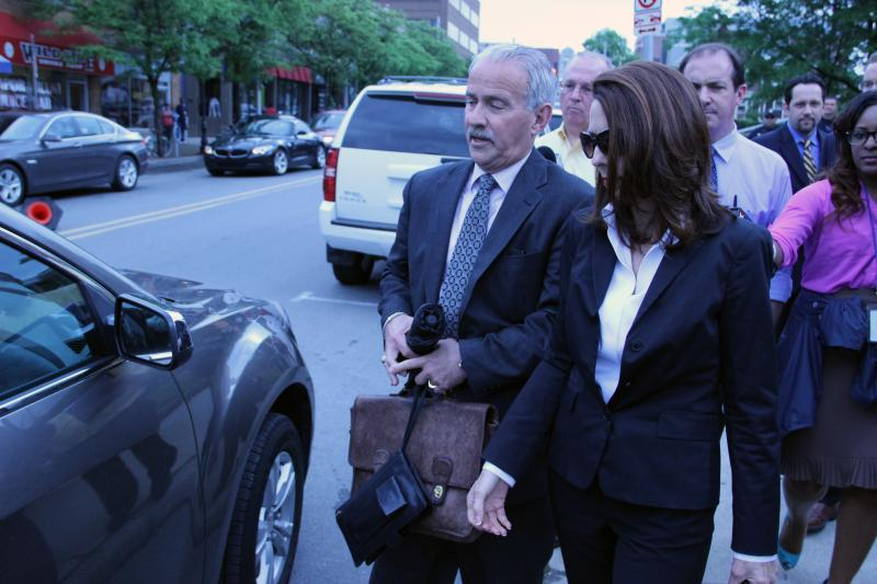 Former Michigan Supreme Court Justice Diana Hathaway and her lawyer Steve Fishman leaving the federal courthouse in Ann Arbor after sentencing.