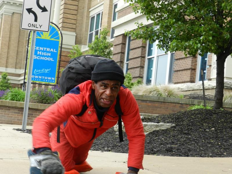 Community activist Bobby Holley is crawling, on his hands and knees, from Battle Creek to Albion.  He's protesting the closing of Albion High School.