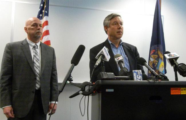 Congressman Fred Upton (right) at a press conference with Palisades COO Tim Mitchell Monday afternoon.