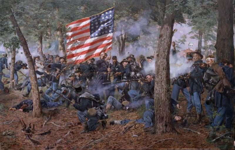 This painting depicts the Iron Brigade at Gettysburg.  Composed partly of the Michigan 24th, it played a prominent role in the first day of the Battle of Gettysburg, July 1, 1863, repulsing the first Confederate offensive.