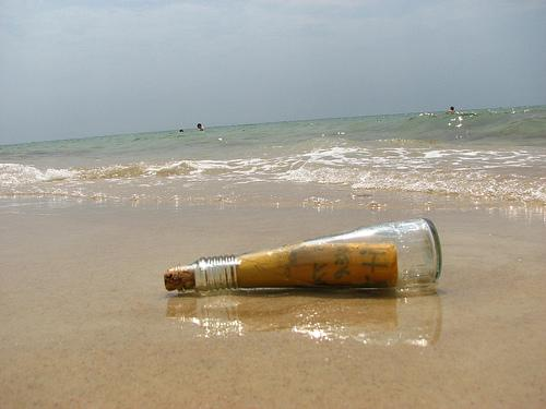 A message in a bottle.