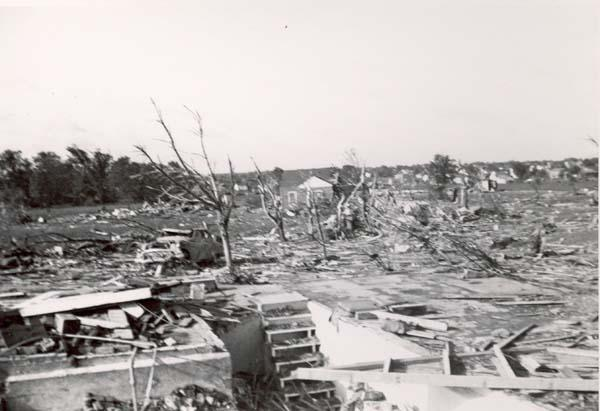 Damage from the Beecher, Michigan tornado of 1953