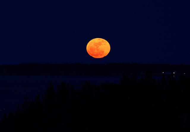 A supermoon over Maine in 2011