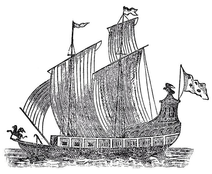 "Woodcut of La Salle's griffon - lost on the great lakes. (circa 1697)  Father Louis Hennipin's ""Nouvelle Decouverte"" (Utrecht, 1697)"