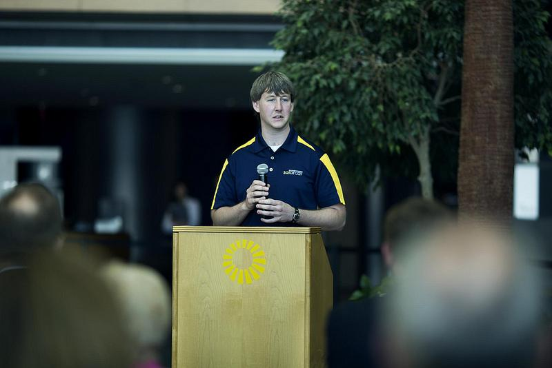 "Eric Hausman, Solar Car team leader, speaks at the 2013 Solar Car ""Generation"" Unveiling at the Renaissance Center in Detroit, MI on June 18, 2013"
