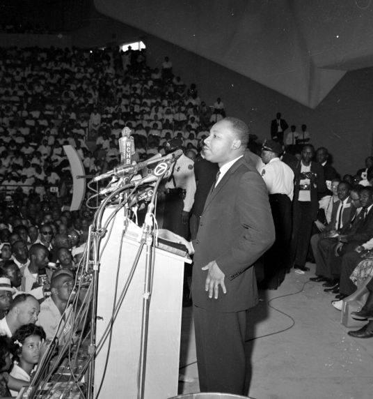 Rev. Martin Luther King Jr. speaking at Cobo Hall Detroit, June 23, 1963.