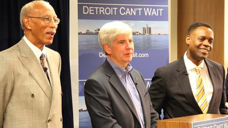 Detroit Mayor Dave Bing, Gov. Rick Snyder, and the city's Emergency Manager Kevyn Orr.