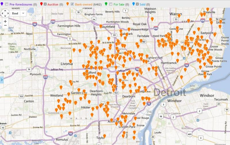 A map of bank owned homes in metro Detroit