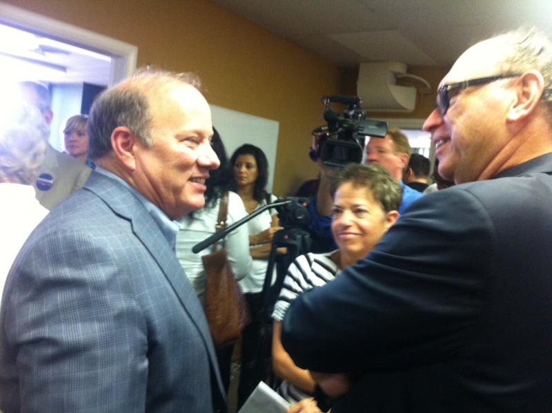 Mike Duggan, left.