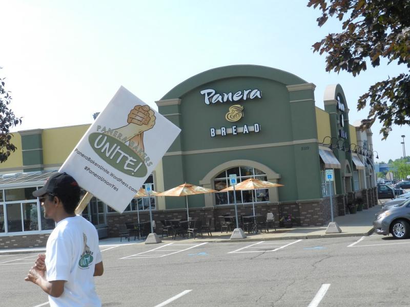 Union picketers walk near a Panera Bread in Kalamazoo