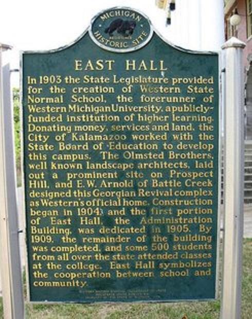 The WMU/East Hall historical marker was stolen sometime last week