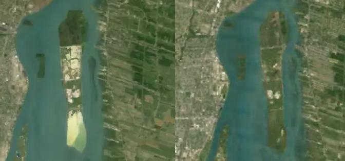 Fighting Island in 1984 (left), and in 2012 (right).
