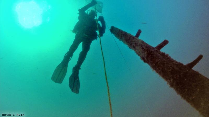 Diver Jim Nowka ascends away from the cultural artifact at the end of a dive.