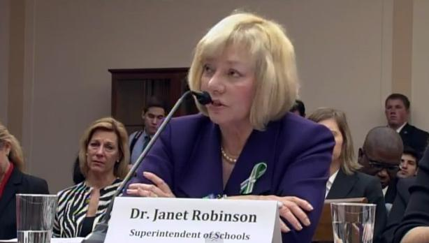 Janet Robinson testifying in front of the House Steering and Policy Committee on Jan. 16, 2013.r Sandy Hook Schools
